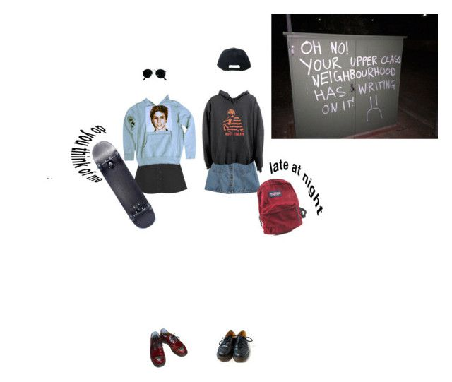 """""""I've Got No One Else To Talk To"""" by bloss-em ❤ liked on Polyvore featuring Monki, Chicnova Fashion, Stussy, JanSport, Dr. Martens and Ray-Ban"""