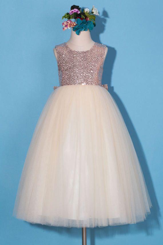 f6eaa5280 Flower girl dress Rose gold sequin flower girl dress Rose