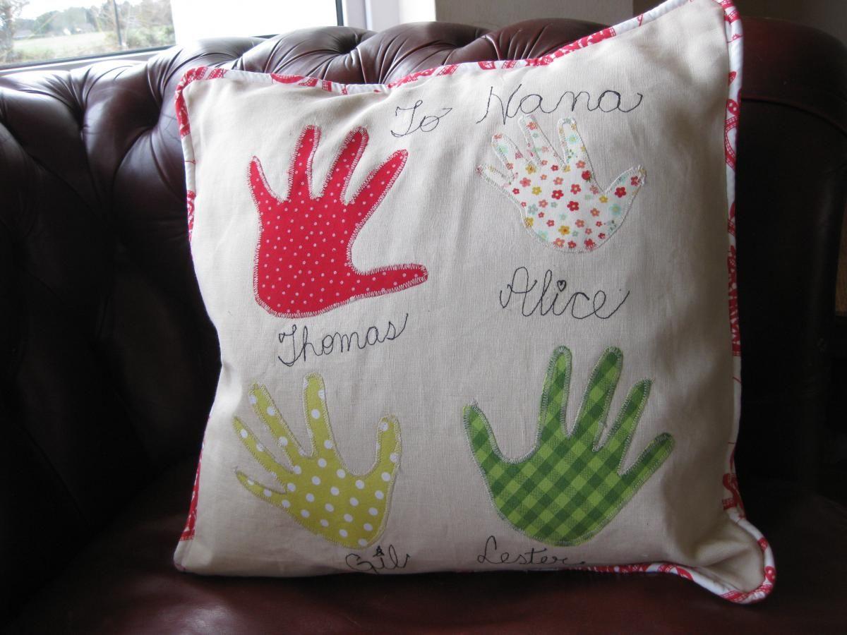 Personalised handprint cushion - family cushion - heirloom