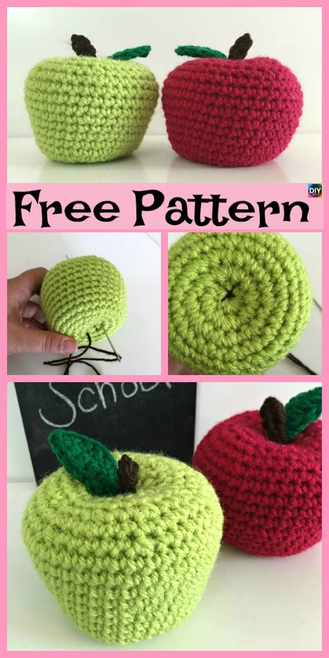 Free Crochet Pattern: Amigurumi Apple ⋆ Crochet Kingdom | 1300x650