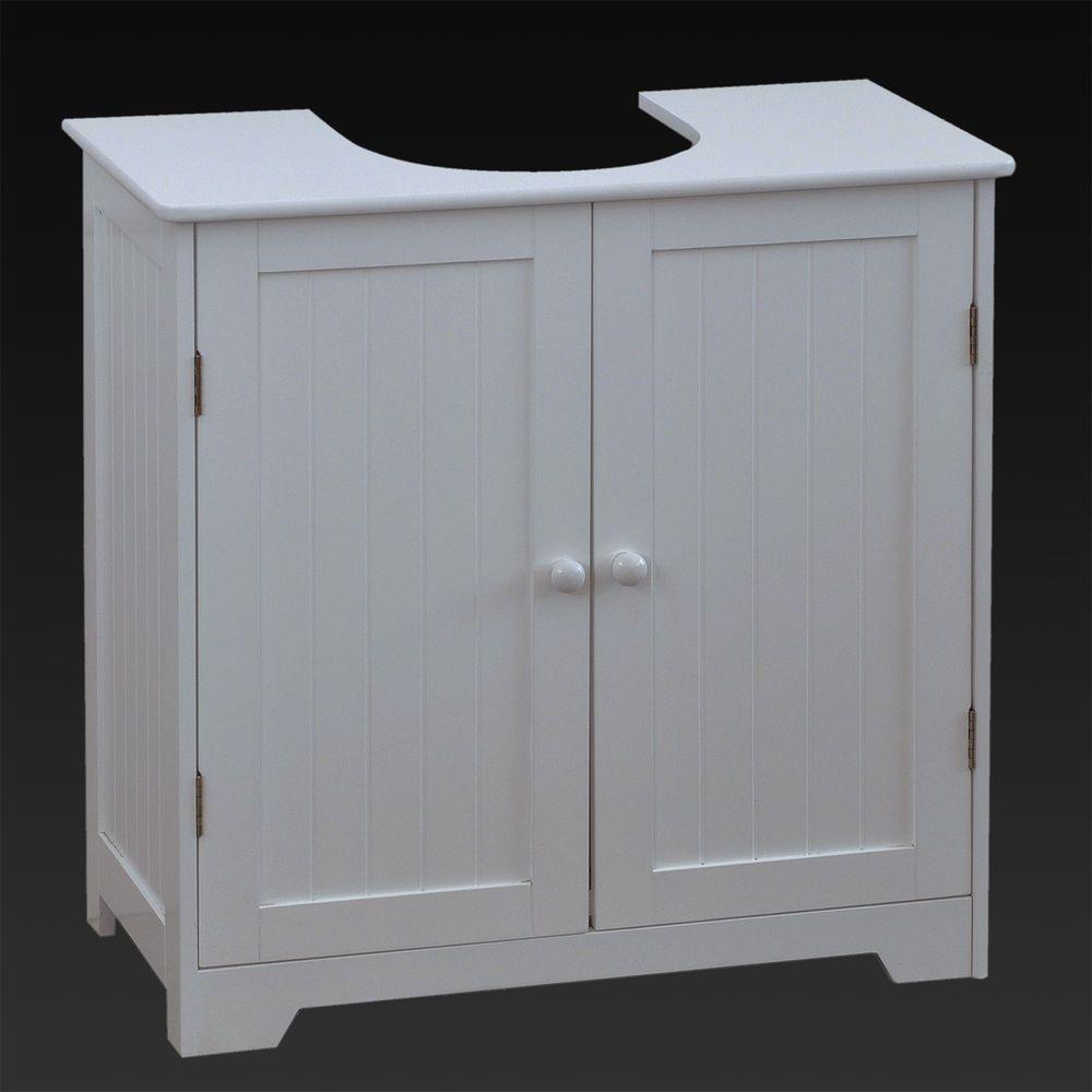 UNDER SINK BASIN STORAGE UNIT WHITE WOOD BATHROOM CABINET FLOOR VANITY CLOAKROOM & Under sink basin storage unit white wood bathroom cabinet floor ...