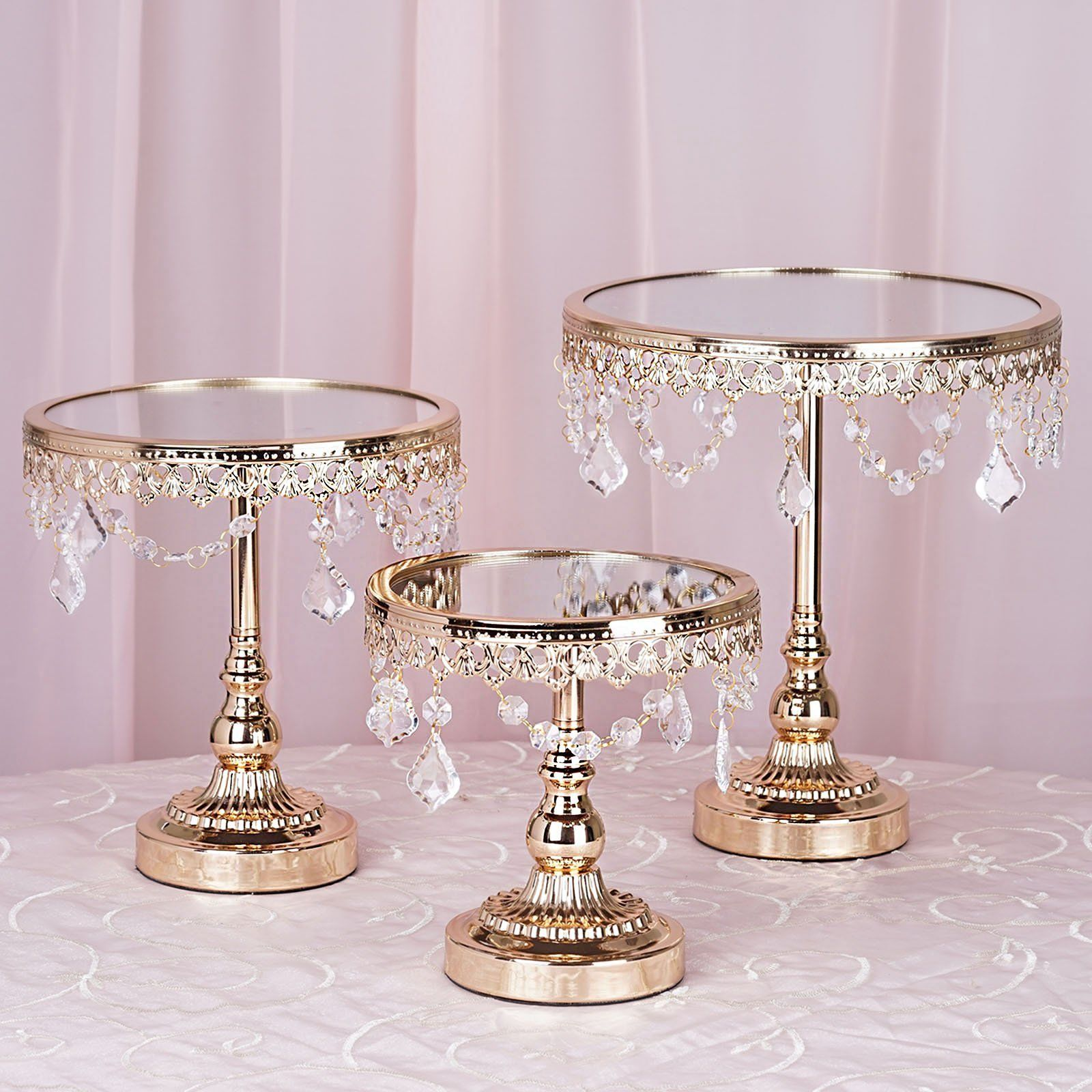 Set Of 3 Gold Round Wedding Cake Stand Centerpiece Risers With Mirror Top Tabletop Decoration Metal Cake Stand Crystal Cake Stand Cake Stand Centerpiece