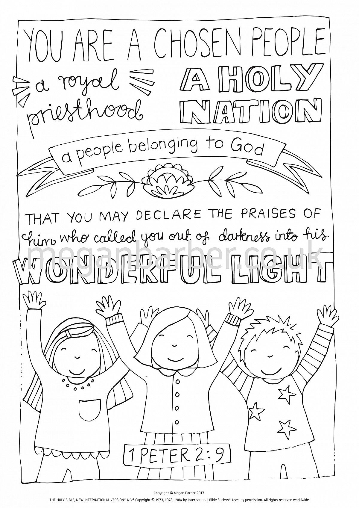 1 Peter 2 9 Colouring Sheet Bible Verse Coloring 1 Peter Peter