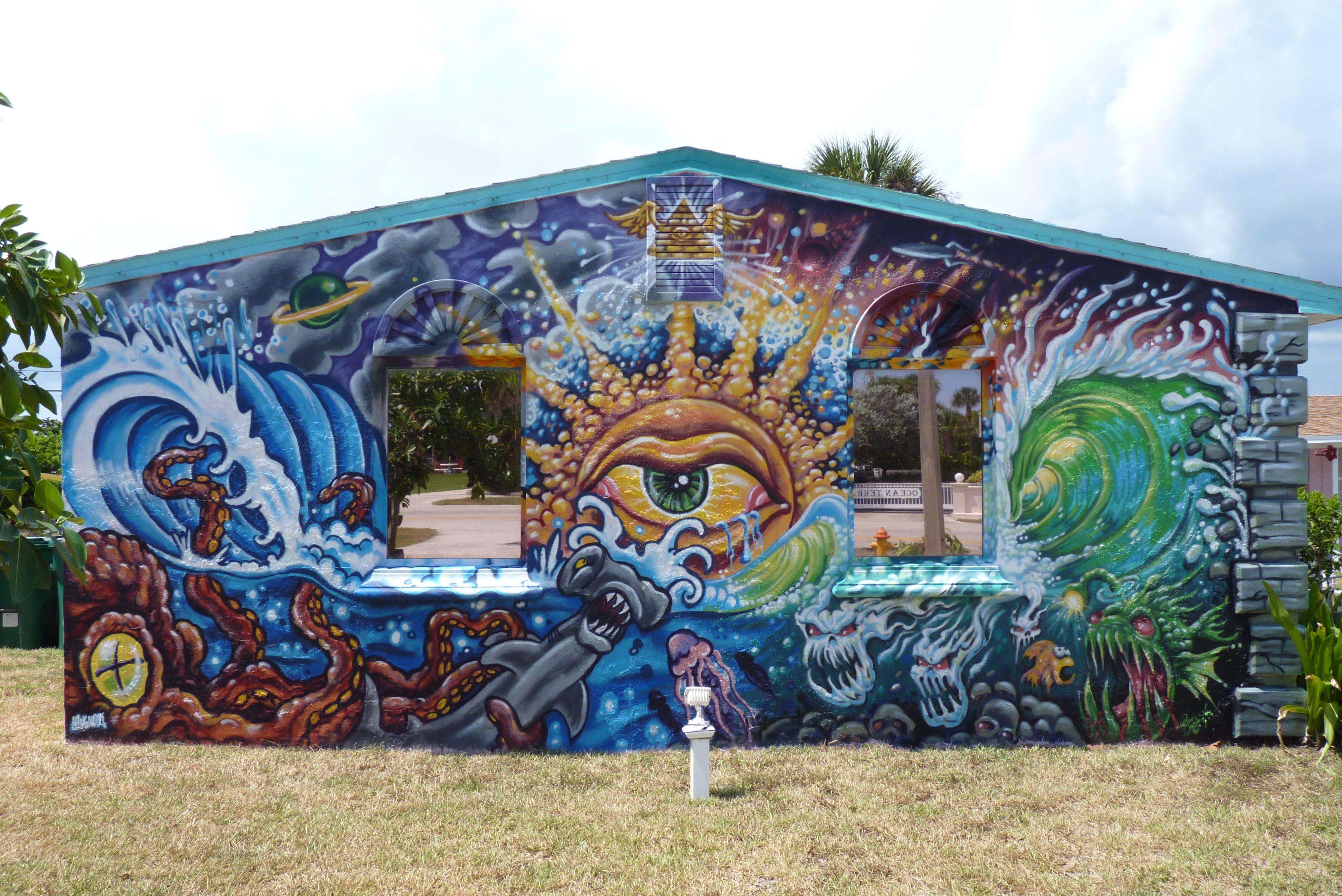 Graffiti wall tattoo - Graffiti On Wall Of Endless Summer Tattoo Parlour Cocoa Beach Florida