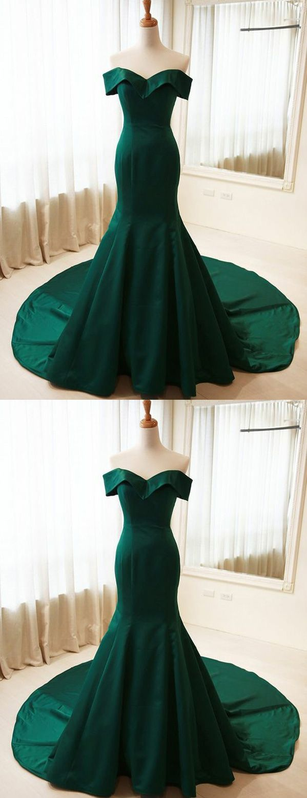 Simple Mermaid Off Shoulder Long Dark Green Satin FormalEvening
