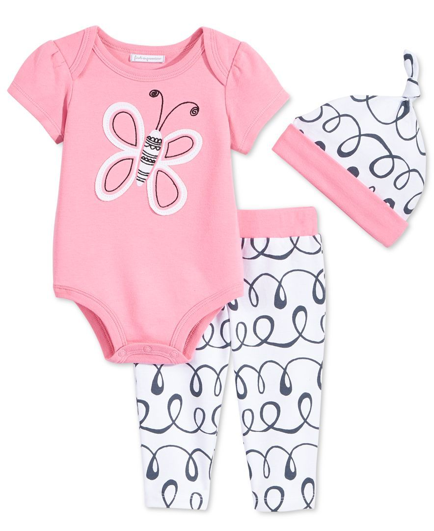 First Impressions Baby Girls' Butterfly Bodysuit, Leggings & Hat, Only at Macy's