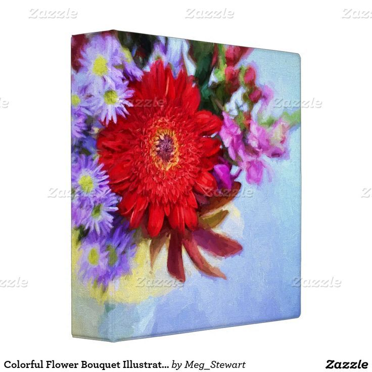 Colorful Flower Bouquet Illustration Binder | Colorful flowers ...
