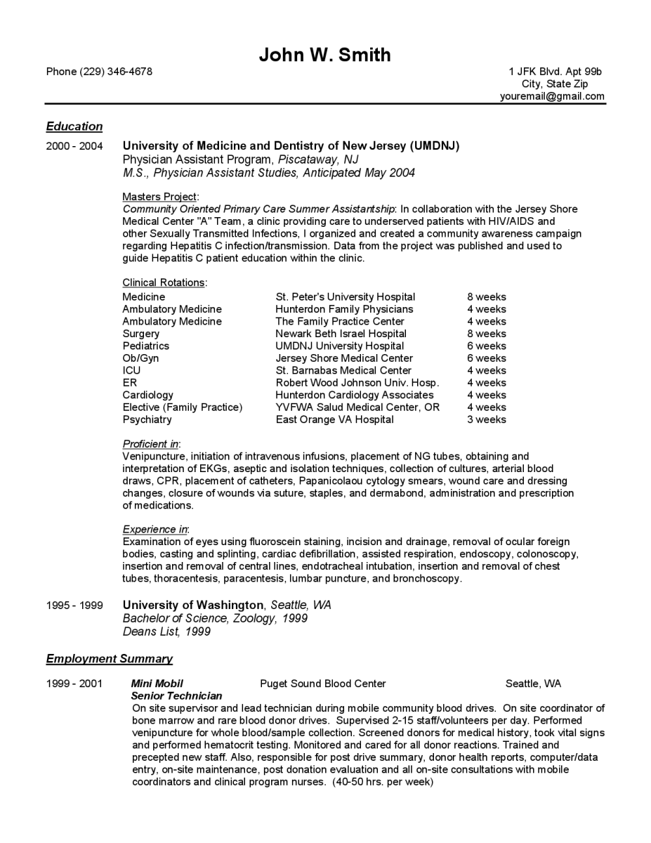 Resume Examples  Best Physician Assistant Resume Template And