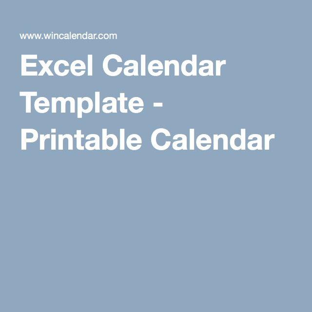 Excel Calendar Template - Printable Calendar