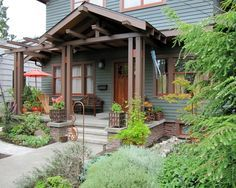 Exterior Front Awnings For Bungalows Google Search Porch With Pergola Bungalow Exterior Craftsman Front Porches