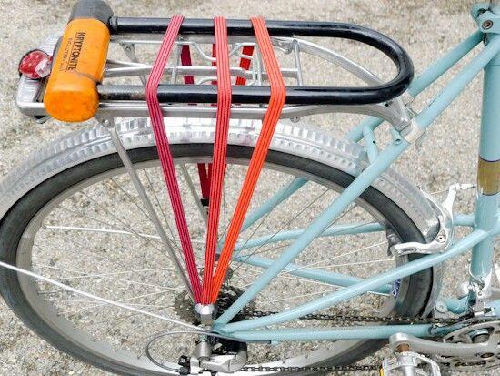 Mount U Lock Flat To Rear Rack Using Bungees To Secure Bike
