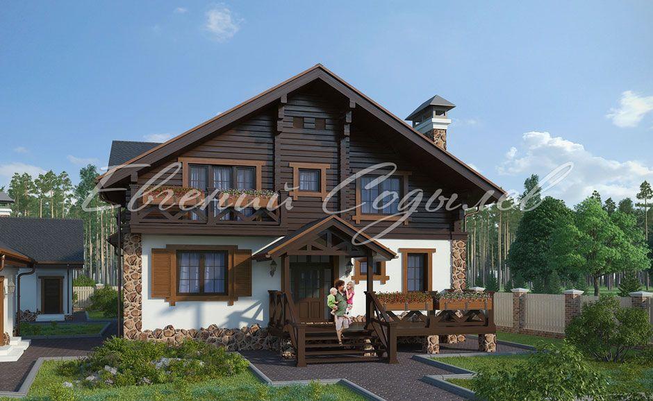 Проект дома из бруса в стиле Шале К-1/13 фото-1 ...