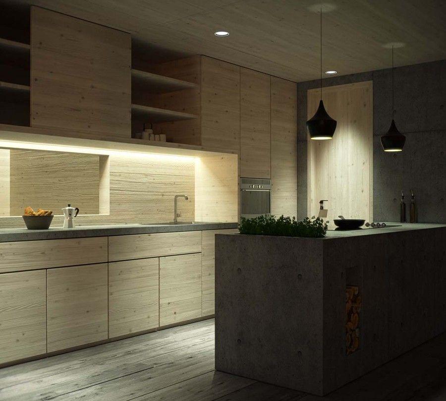 Haus H2 Mosborn Auch die Küche wird in traditionellem Holz gehalten