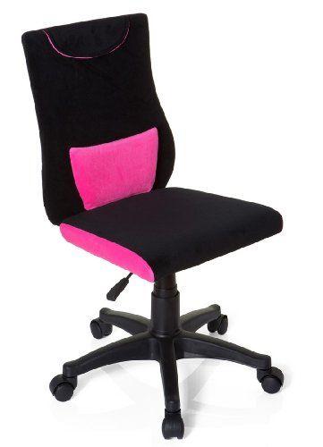 Hjh OFFICE 670490 Chaise De Bureau Enfant Pour KIDDY PRO Noir Rose Sige Capitonn Sans Accoudoirs Coussin Renfo
