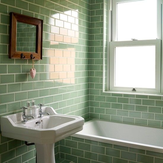 bathroom with green metro tiles decorating with tropical colours decorating housetohomeco - Bathroom Tile Ideas Colour