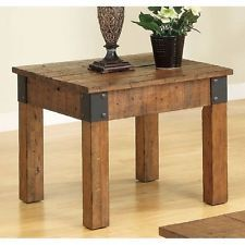 Rustic End Table Country Cottage Style Distressed Wood Plank