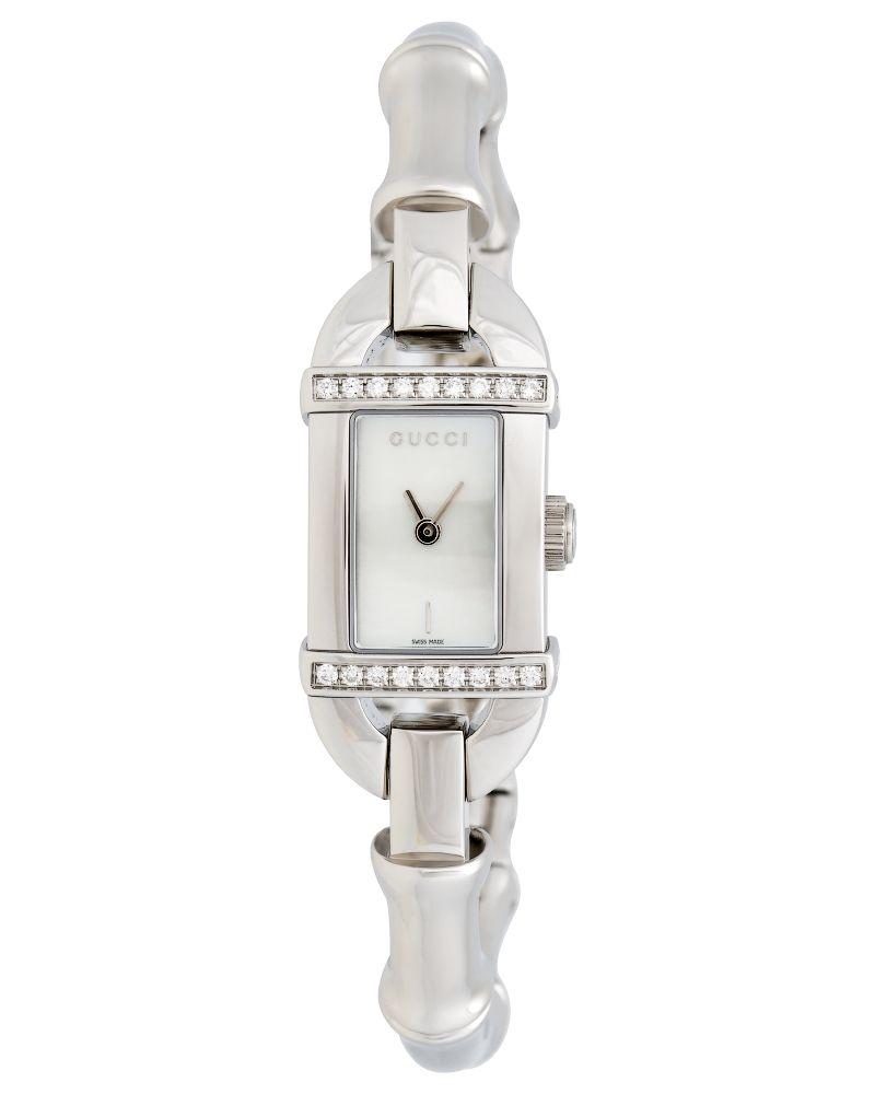 5ace75b7f20 Gucci Bamboo Diamond Mother of Pearl Ladies Watch - YA068567