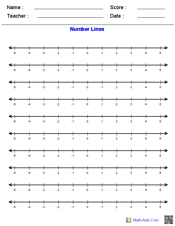 Horizontal Number Lines Graphing Paper | Math school ...