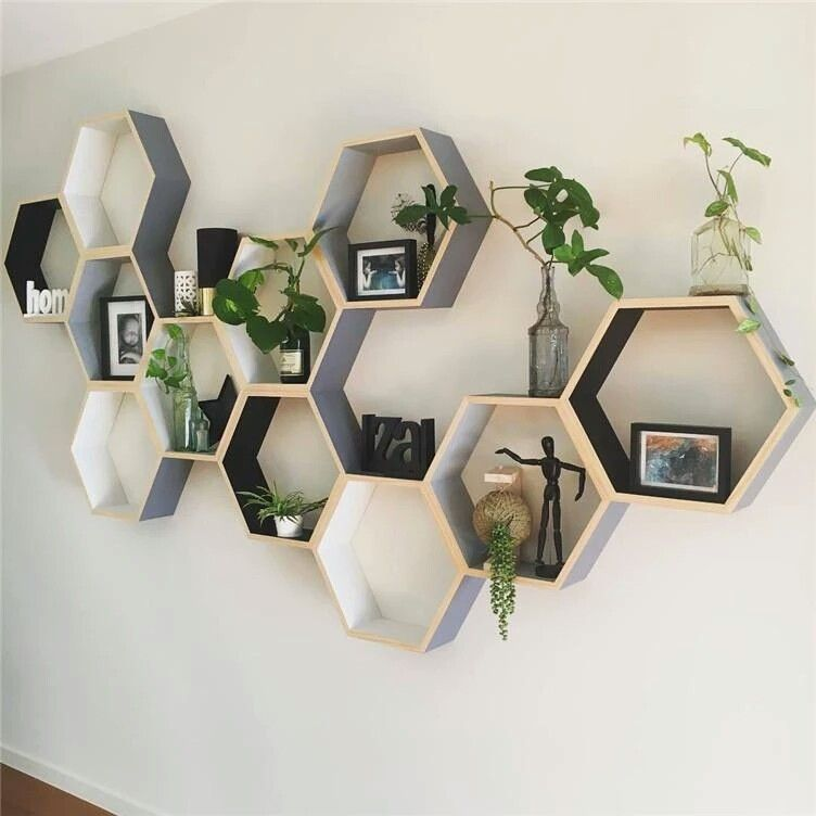 Hexagonal Modular Wooden Shelf Modern