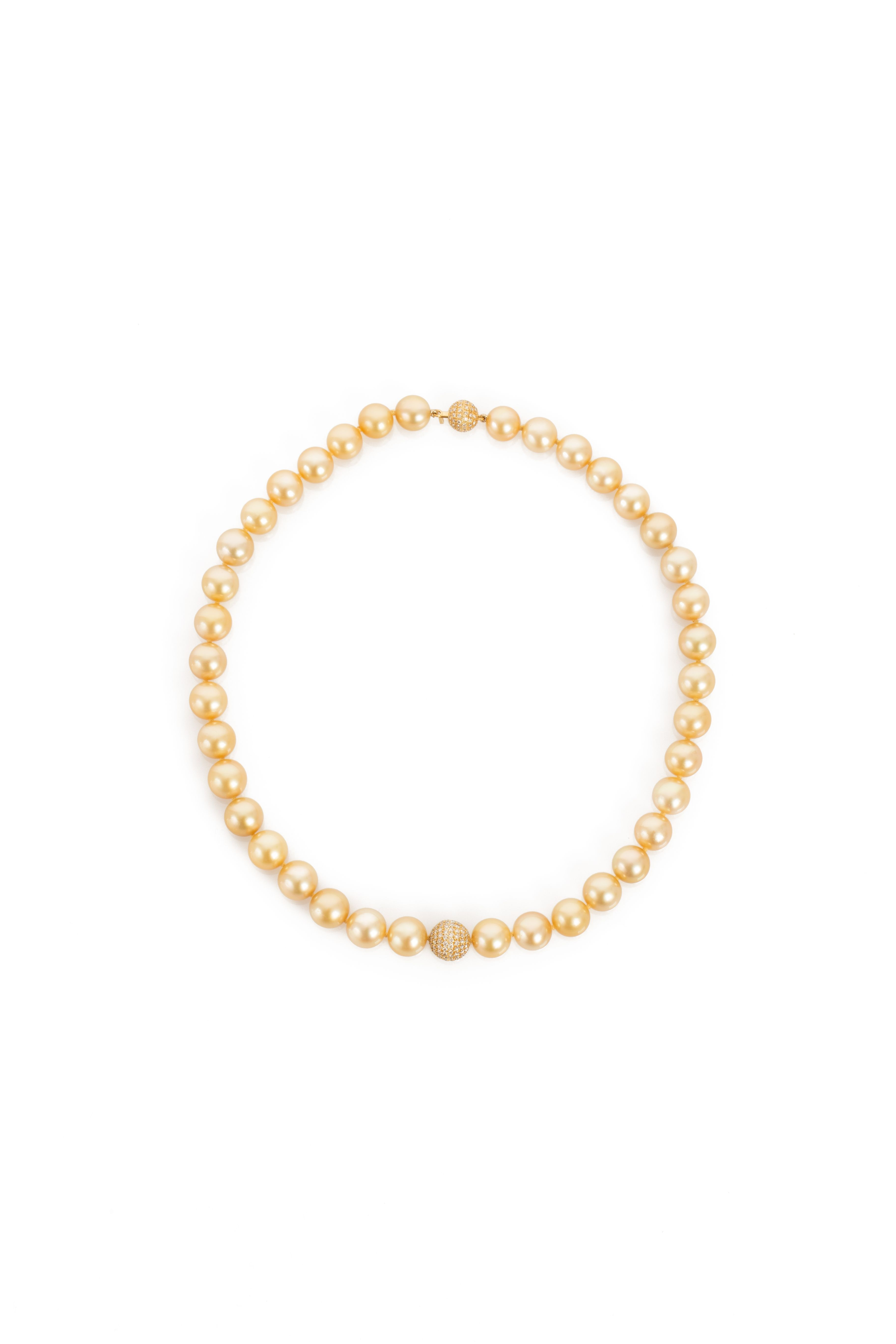 Terry Snider Jewelry Golden Keshi Pearl Necklace with Diamond Pave Ball