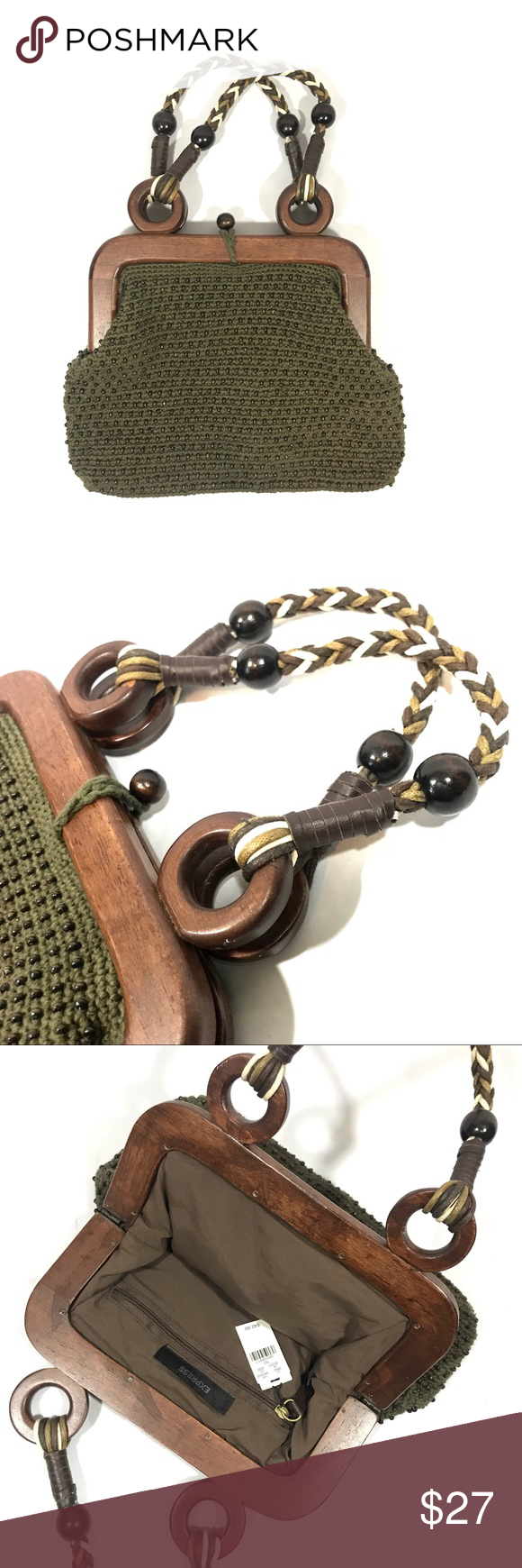 "NWT EXPRESS Beaded Green Cloth Tote Bag Wood Frame NWT - new with tags Never used   Olive / army green woven Express bag with brown wooden beads, braided handle and wooden hinge frame   Loop and button closure  1 interior zip pocket  Fully lined   H 8.5"" W 11"" Express Bags Totes #woodentotebag"