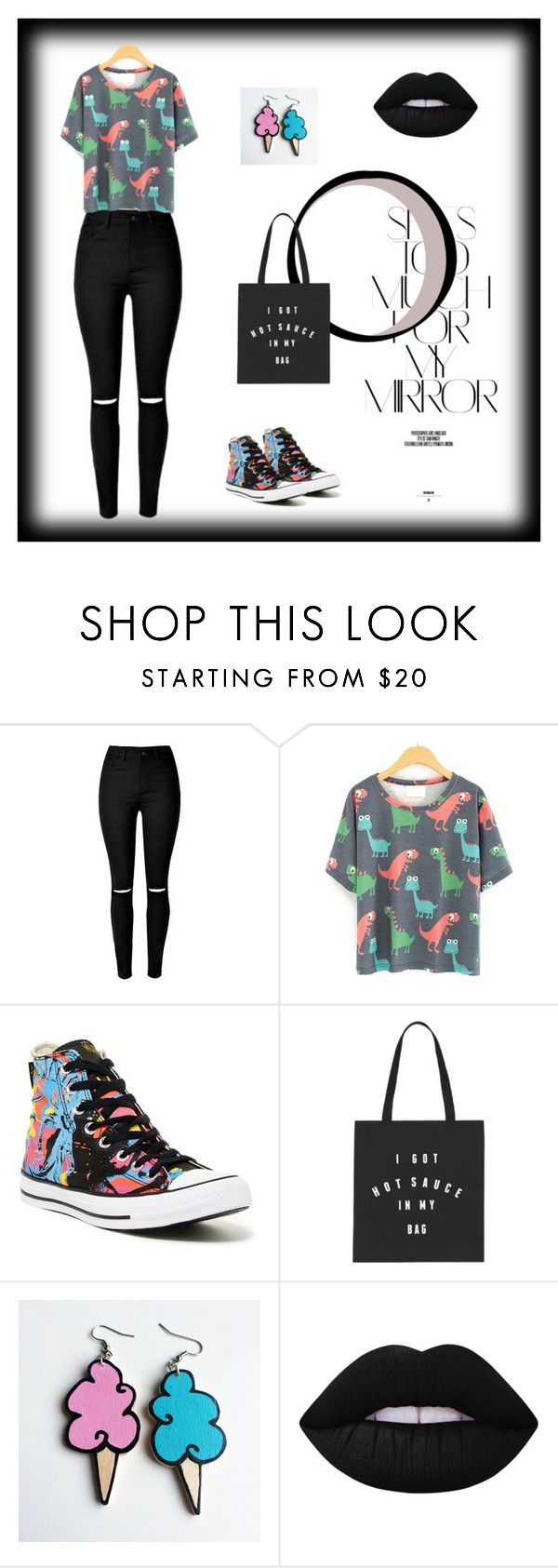 """""""Black"""" by vanesamuftic ❤ liked on Polyvore featuring Rika, Converse, Junk Food Clothing, Lime Crime, black, bag, jeans, dinosaur and blacklipstic"""