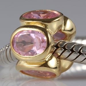 Pink Oval Lights October Birthstone Authentic Sterling Silver Solid Core Charms Fits Troll Beads
