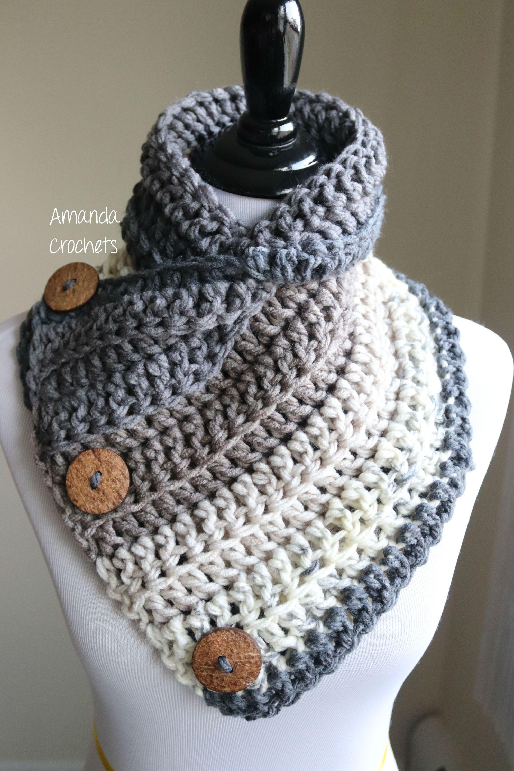 3 Button Cowl Pattern - Amanda Crochets   Crochet cowl ...