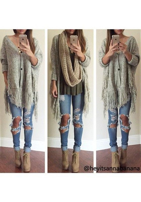 Gray Tassel V-neck Bat Sleeve Knit Cardigan - Cardigans - Sweaters - Tops