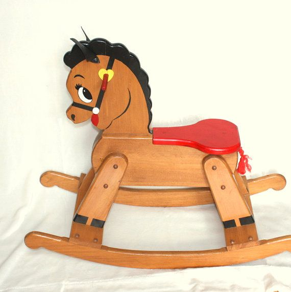 Handmade Vintage Wooden Rocking Horse Large And Sturdy Toddler Etsy Wood Rocking Horse Rocking Horse Diy Kids Rocking Horse