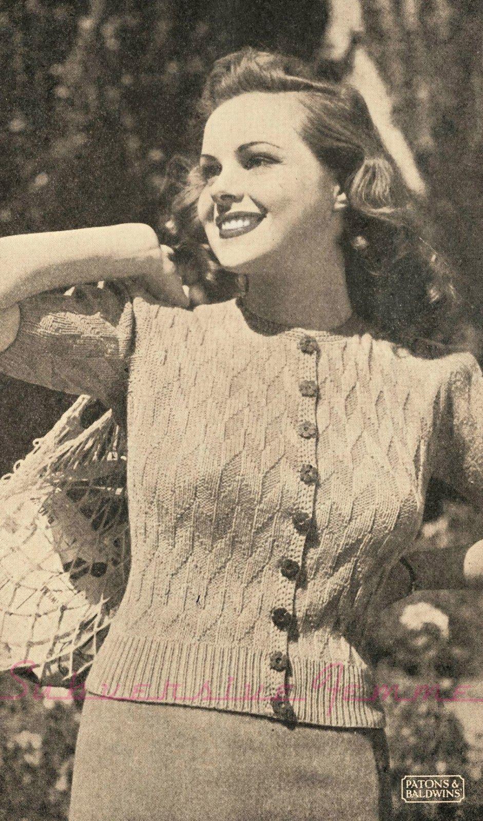free vintage knitting pattern 1940s 40s 36 bust wwii ww2 australia ...