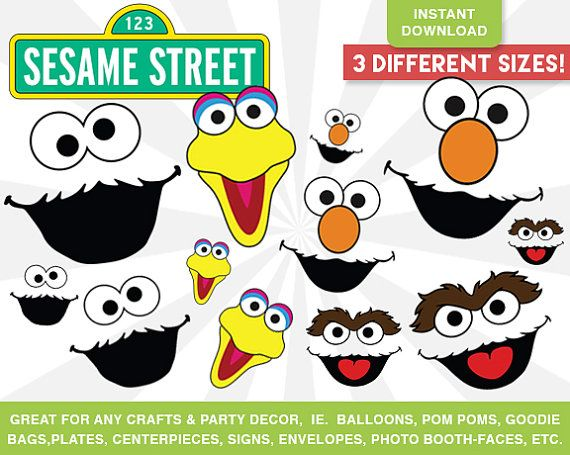 Sesame Street Faces Cut Outs INSTANT DOWNLOAD - Elmo, Cookie Monster