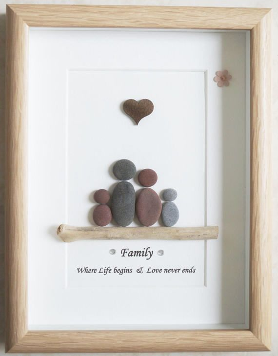 pebble art framed picture family valentinstag. Black Bedroom Furniture Sets. Home Design Ideas