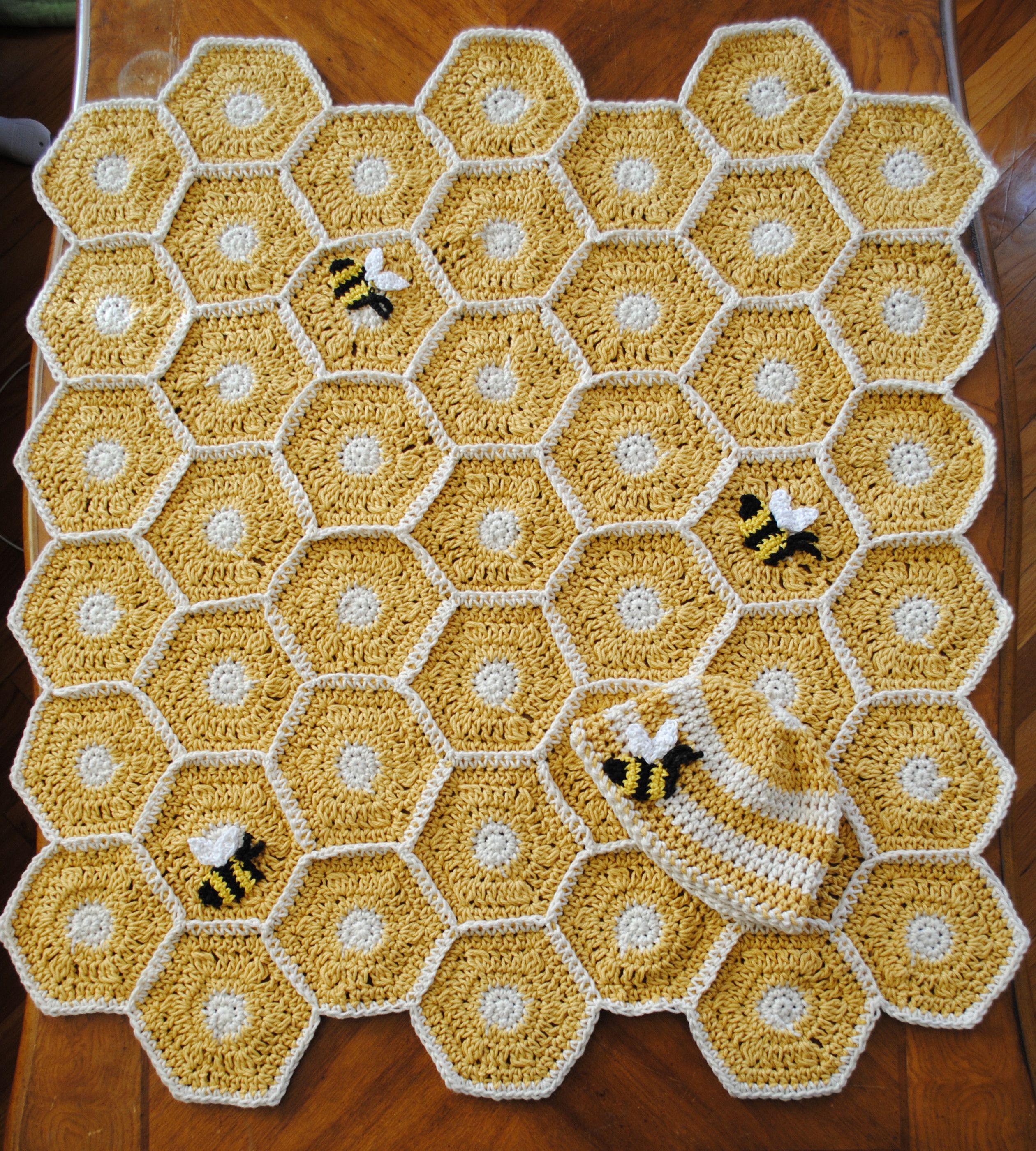 Bee blanket hexagon quilt baby blanket crochet crochet bee