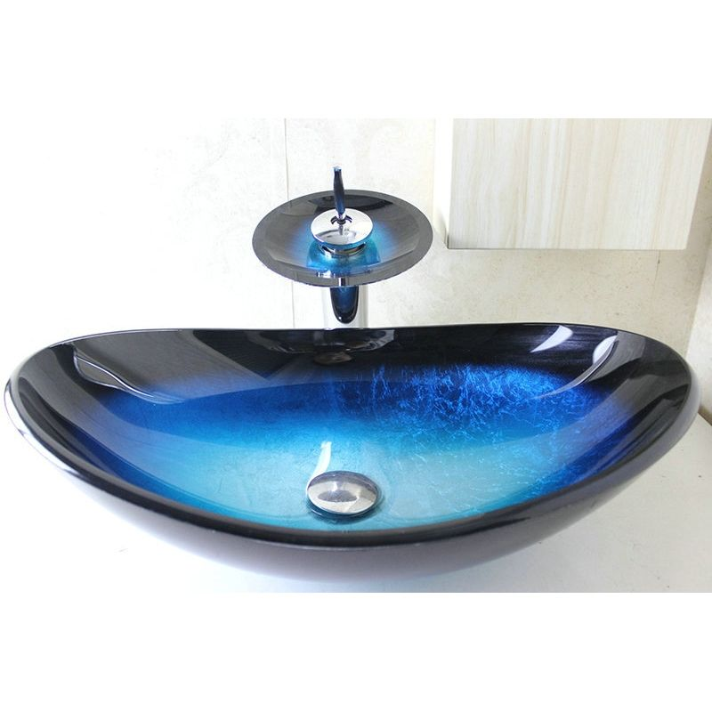 Modern Fashion Oval Tempered Glass Sink Faucet Set Glass Sink