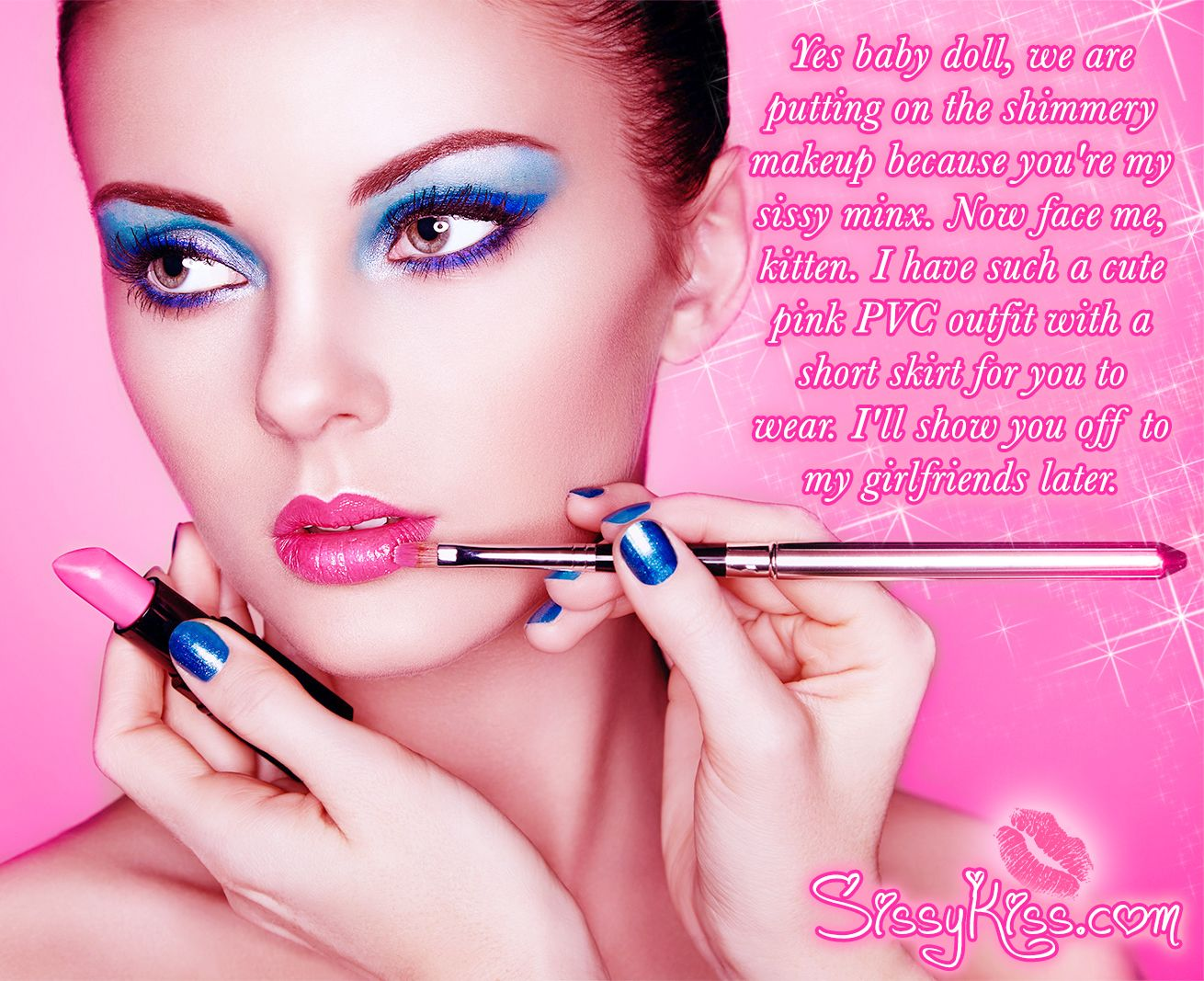 Sissy Makeup Caption 2