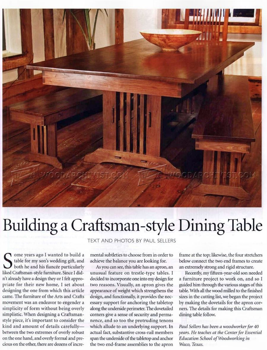 #1919 Craftsman Style Dining Table Plans   Furniture Plans