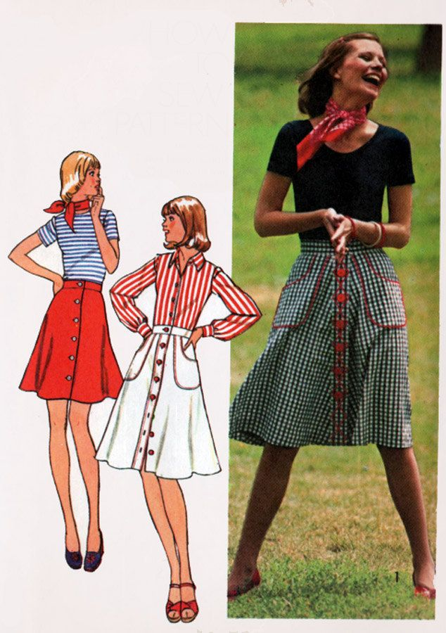 1970s Skirt Flared Button Front with BIG Pockets in 3 ...