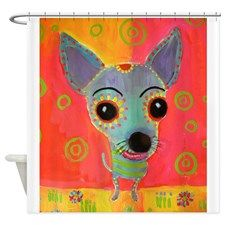 Neon Pomeranian Or Chihuahua Portra Shower Curtain For Curtains