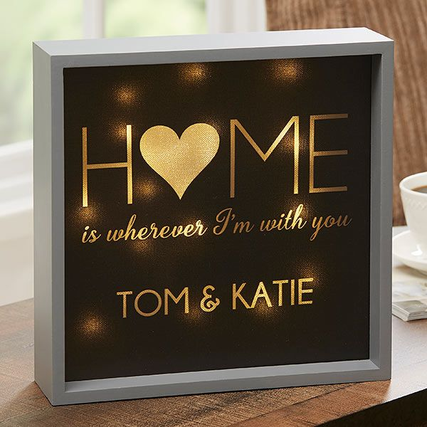 Home With You 10x10 Personalized Led Light Shadow Box Led Lights Shadow Box Mantel Decorations
