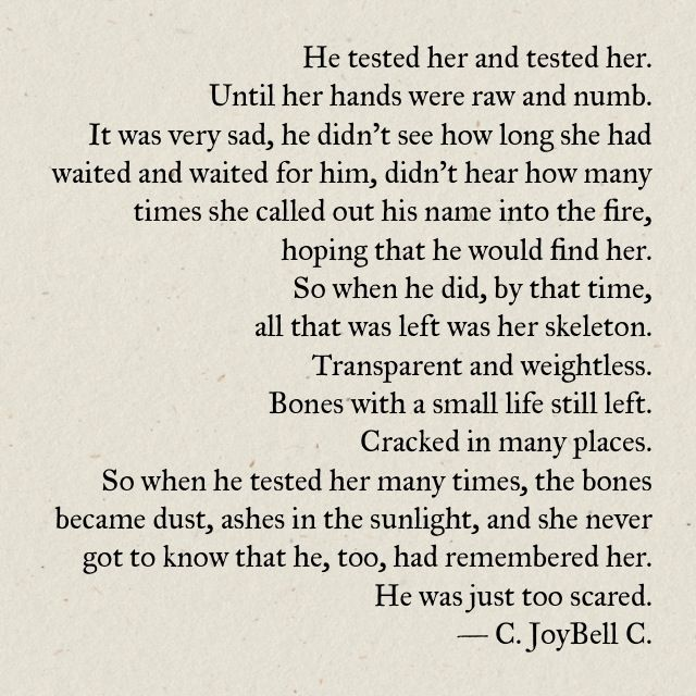 c joybell c he tested her and tested her holy cow these words