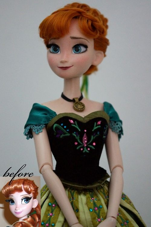 """Limited Edition Anna of Arendelle OOAK doll with a complete new facepaint and new hairstyle, lashes are trimmed to look more natural. Origin..."" from website."