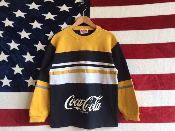 Vintage 90s Coca Cola Striped Sweater Black Yellow Striped Colour