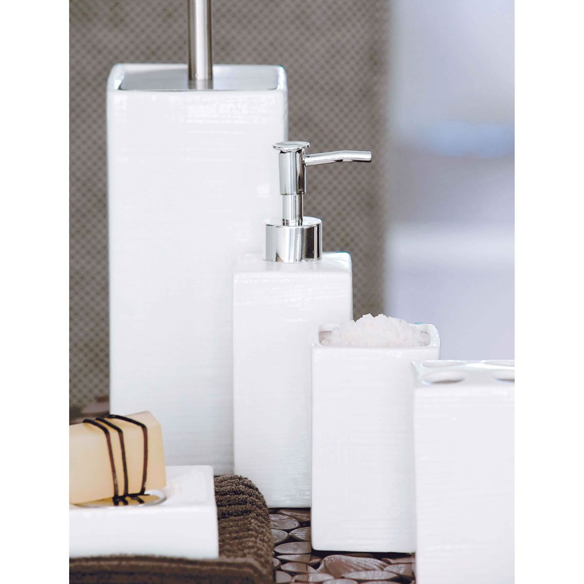 Essentials 5 Piece Bathroom Set White $29.95 | Bathroom ...