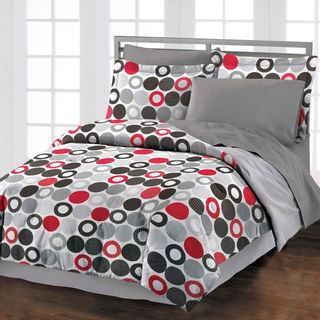 @Overstock.com - Reinforcements 4-piece Comforter Set with Bedskirt - Give your bedroom a makeover with this lovely four piece comforter set from Reinforcements. Featuring a bright geometric pattern, this set will turn even the most drab bedroom into something fabulous. The comforter and sham are conveniently reversible.  http://www.overstock.com/Bedding-Bath/Reinforcements-4-piece-Comforter-Set-with-Bedskirt/6728713/product.html?CID=214117 $53.99