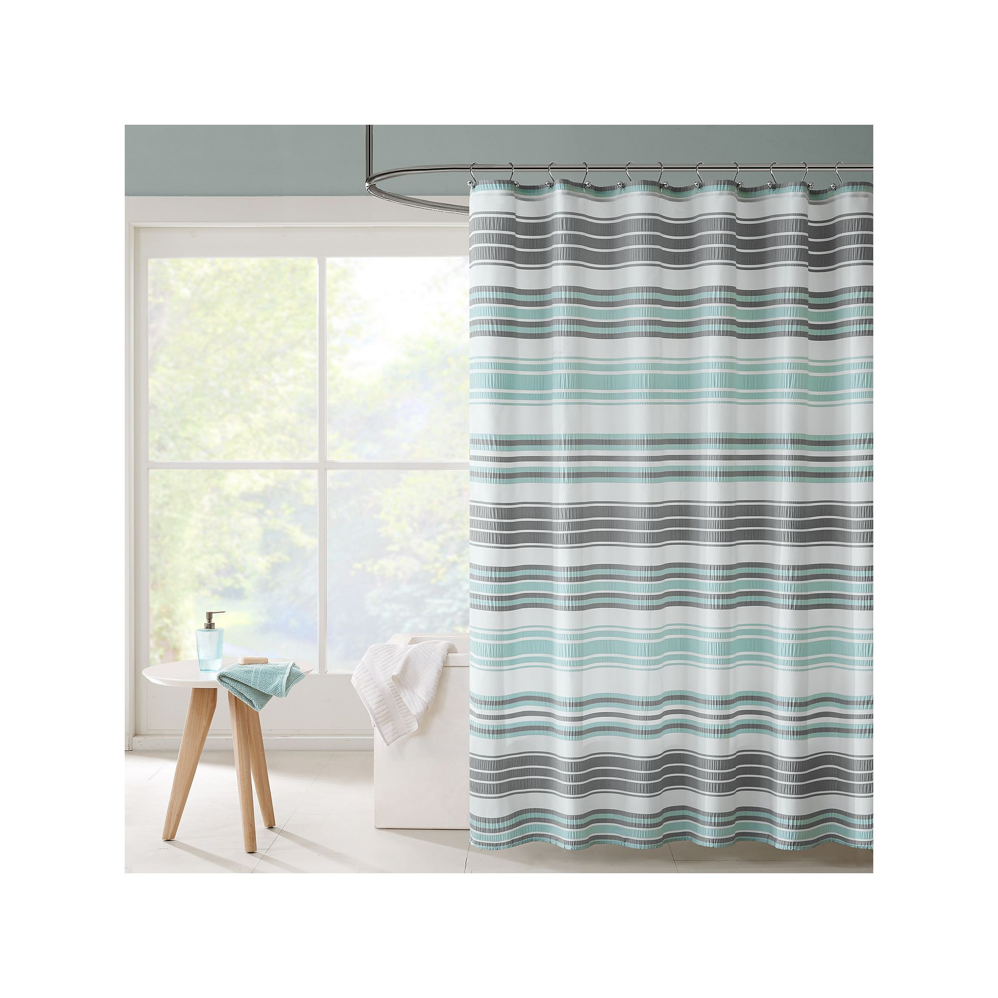 Intelligent Design Sonia Puckering Stripe Shower Curtain, Turquoise ...