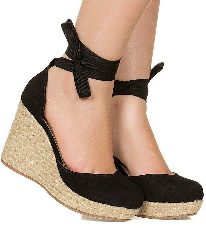 d705b1bfed Sandália espadrille anabela preta salto corda Taquilla - Taquilla  Calçados  femininos online