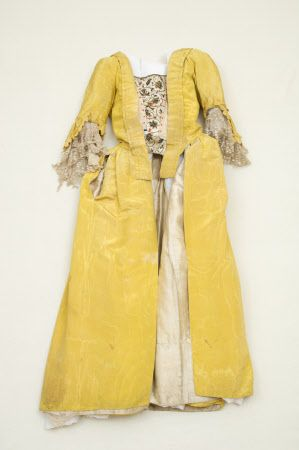 Open robe    National Trust Inventory Number 1348713.1  Category	Costume  Date	1760  Materials	Linen, Moire silk, Net, Silk, Silver thread