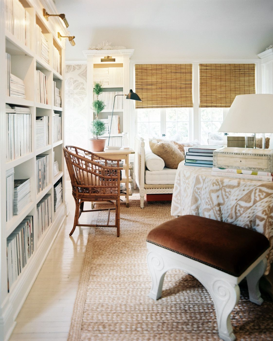 home library lighting. Neutrals \u0026 Layers, Rattan Chair, White Bookshelves With Brass Library Lights Home Lighting E