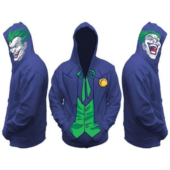 DC Comics Licensed Batman Harley Quinn The Joker Full Zip Mask Hoodie